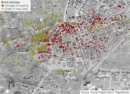 Map showing artillery damage after Assad's army bombed Homs Syria