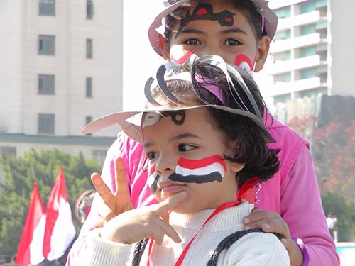 Children at a rally in Tahrir Square, Cairo, Egypt