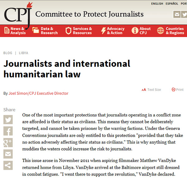 CPJ retraction of false accusations made against Matthew VanDyke