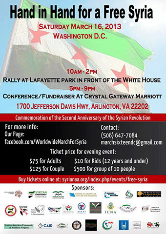Poster for the Hand in Hand for a Free Syria Event