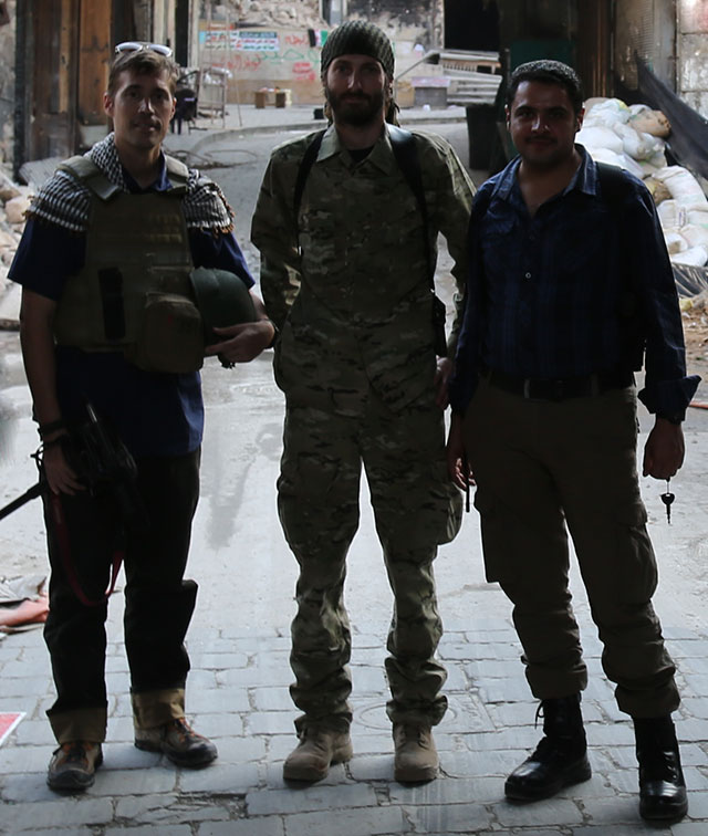 James Foley, Matthew VanDyke, and Omar Hattab in Aleppo, Syria