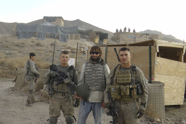 journalist matthew vandyke working as a war correspondent with mark walden and david smith at fob baylough in deh chopan zabul afghanistan