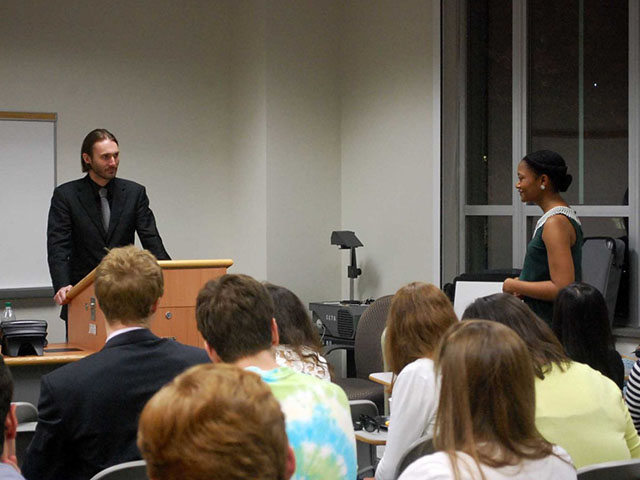 Matthew VanDyke Answers a Student's Question at a Georgetown University Event