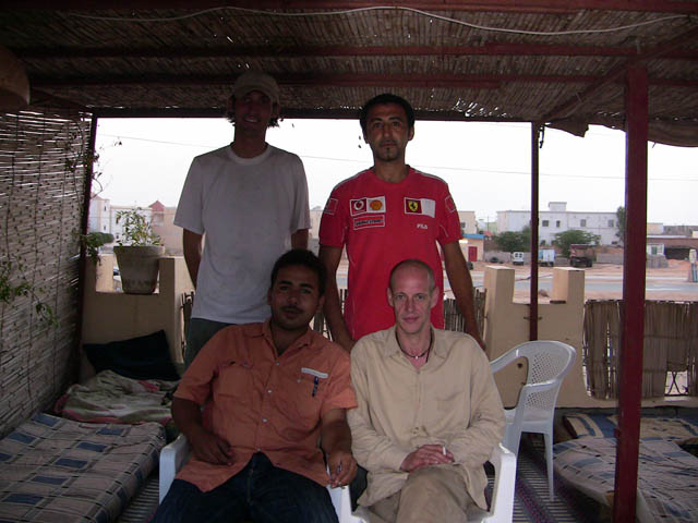 Matthew VanDyke and Nouri Fonas and Mohamed Haidara the Auberge Sahara in Nouakchott Mauritania