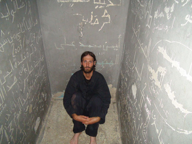 Matthew VanDyke in his prison cell while a prisoner of war during the Libyan Civil War