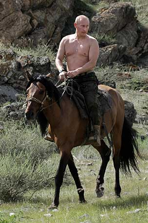 Russian President Vladimir Putin riding a horse
