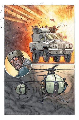 A MK2 Mamba Armored Transport Vehicle and MH6 Little Birds in the graphic novel