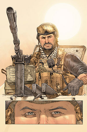 A Blackwater military contractor in the graphic novel