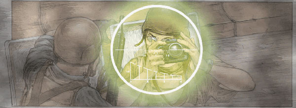 Robert Young Pelton in the crosshairs of an insurgent sniper in the graphic novel